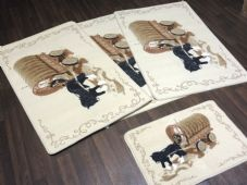 ROMANY GYPSY WASHABLE NEW 2019 SETS OF 4 MATS CREAMS/BEIGE/BROWN NON SLIP WAGON